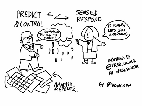 Frederic Laloux RSA talk cartoon control vs sensing